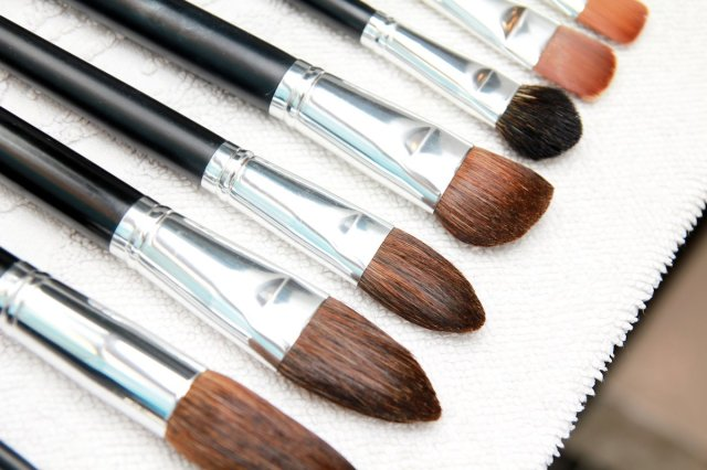 Professional make up brushes dry on towel
